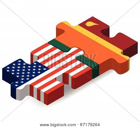 Usa And Sri Lanka Flags In Puzzle