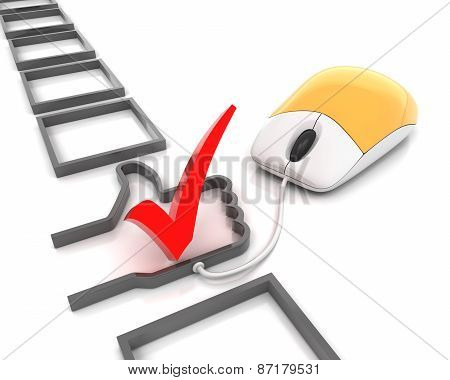 Online checkbox with thumb up shape