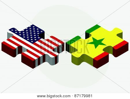 Usa And Senegal Flags In Puzzle