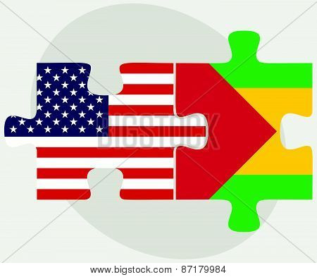 Usa And Sao Tome And Principe Flags In Puzzle