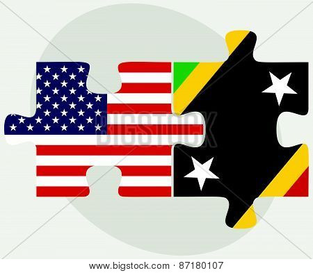 Usa And Saint Kitts And Nevis Flags In Puzzle