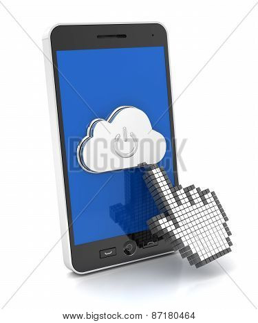 Hand cursor pressing cloud button on a smartphone