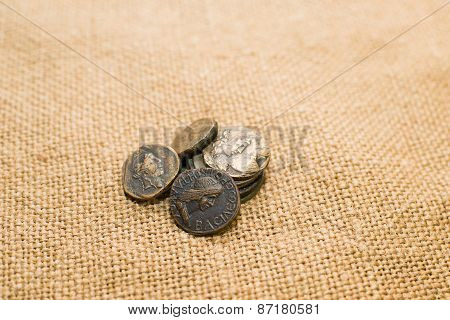 Antique  Coins With Portraits Of Emperors  On Old Cloth
