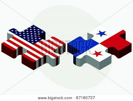 Usa And Panama Flags In Puzzle