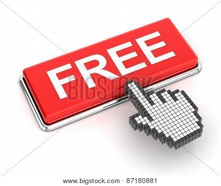 Hand cursor clicking a free button