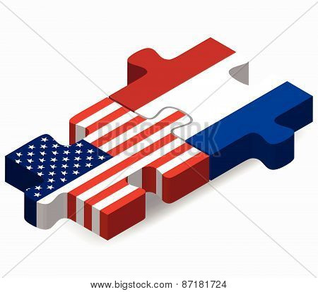 Usa And Netherlands Flags In Puzzle