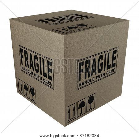 3D Cardboard box with fragile text and icons