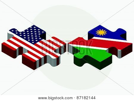 Usa And Namibia Flags In Puzzle