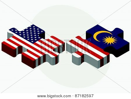 Usa And Malaysia Flags In Puzzle