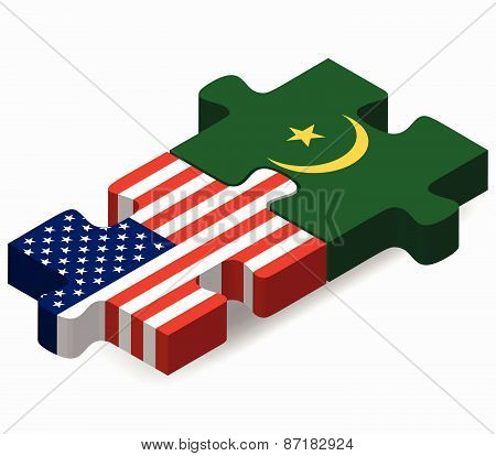 Usa And Mauritania Flags In Puzzle