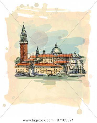 Venice - Island of San Giorgio Maggiore. Vector illustration. Eps10