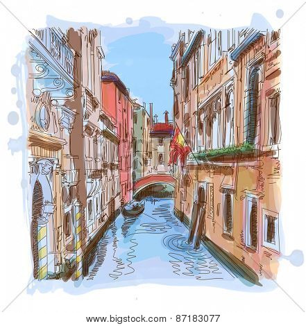 Venice - water canal, old buildings & gondola away. Vector illustration. Eps10