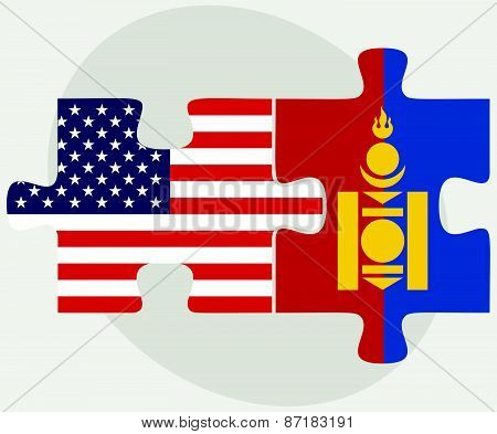 Usa And Mongolia Flags In Puzzle
