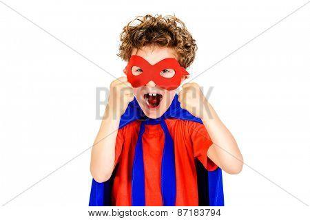 Little boy superhero. Isolated over white background.
