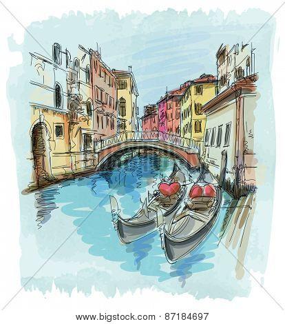 2 gondolas. Ponte del Mondo Novo, Campo S.Maria Formosa. Venice, Italy. Vector illustration. Eps10