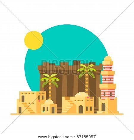 Flat Design Of Karnak Ruins In Egypt