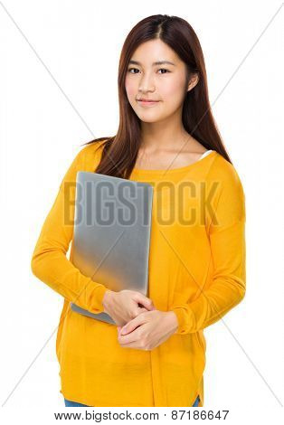 Young girl carry with portable computer