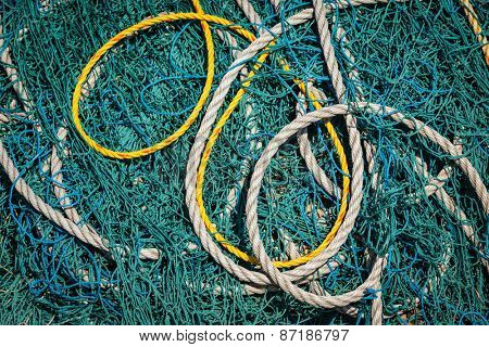 Fishing net and ropes close up. Tamil Nadu, India