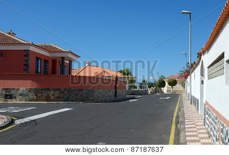 Accacia Street Toward Barbero Point, Puerto De Santiago, Tenerife, Canary.