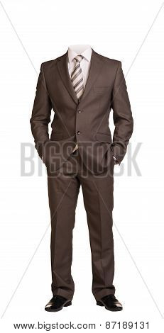 Businessman without head, standing with hands in pockets. Isolated