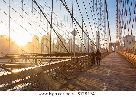 Brooklyn bridge at sunset, New York City.