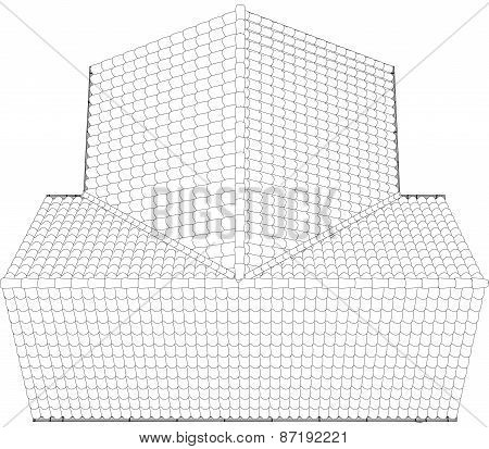 Sketch of a house roof painted lines and curves. Vector illustration.