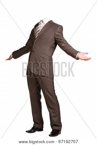 Businessman in suit without head, spread his arms to sides. Isolated