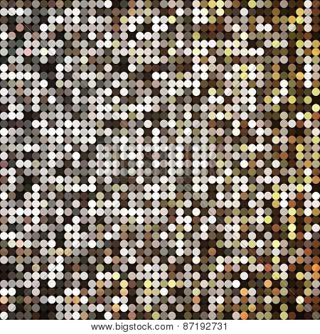 Vector golden abstract retro vintage pixel mosaic background of sparkling sequins for design. Gold d