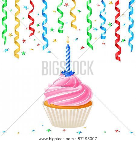 Cupcake with candle and streamer