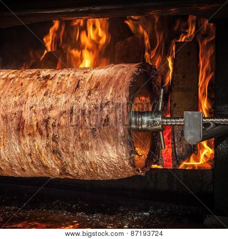 Traditional Turkish Doner Kebab Is Preparing In An Oven