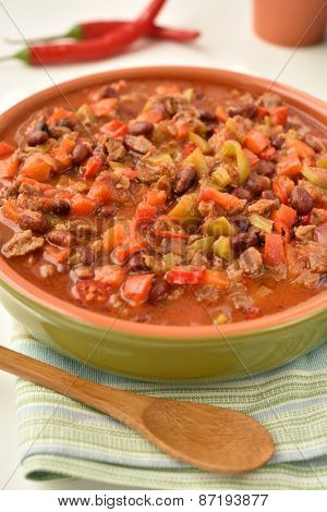 Chili con carne in a bowl