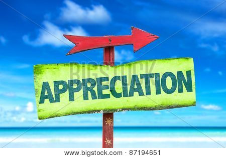 Appreciation sign with beach background