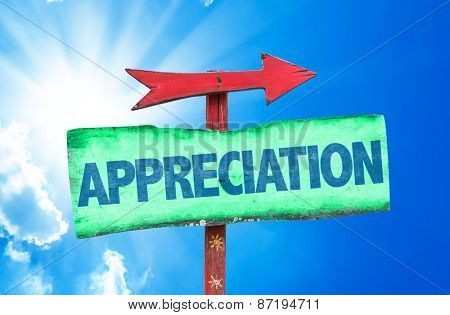 Appreciation sign with sky background