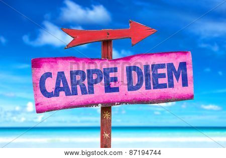 Carpe Diem sign with beach background