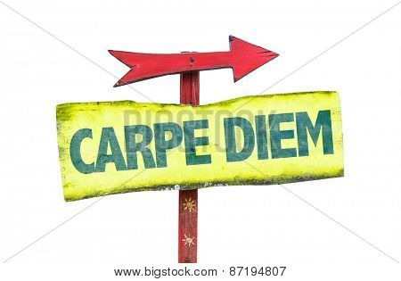 Carpe Diem sign isolated on white