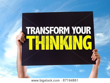 Transform Your Thinking card with sky background