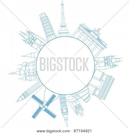 Vector illustration of travel famous monuments of Europe and place for text