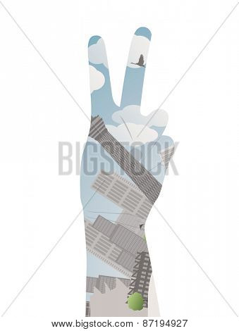Vector illustration eps10 of a hand with victory sign Double exposure