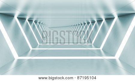 Abstract 3D Empty Illuminated Light Blue Shining Bent Corridor
