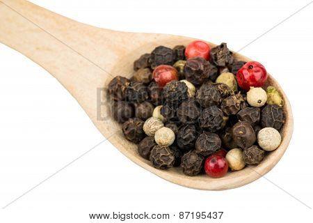 Grains Of Pepper In A Spoon