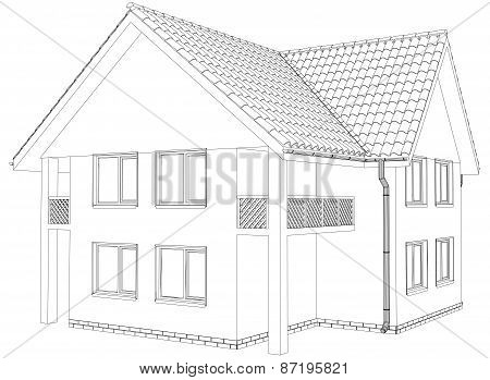 Outline wireframe house on the white background.