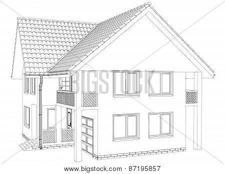 Outline house on the white background. Illustration created of 3d. EPS 10