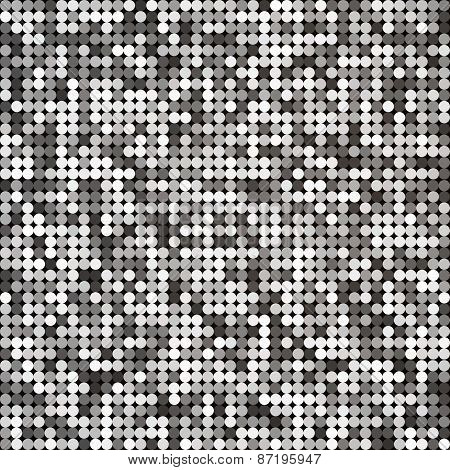 Vector silver abstract retro vintage pixel mosaic background of sparkling sequins for design. Disco