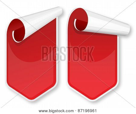 Red packing stickers set