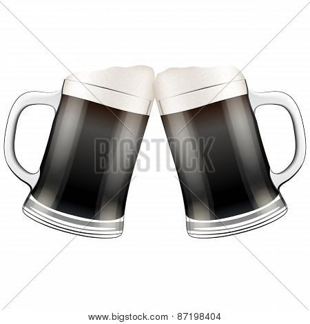 Two dark beer mugs clink.
