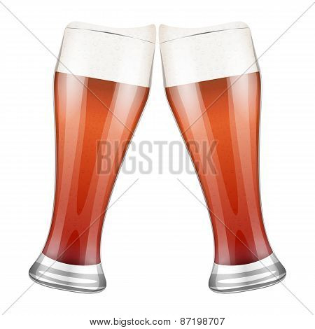 Two red beer glasses clink.