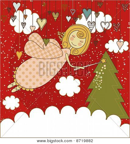 Red Christmas Card with Angel