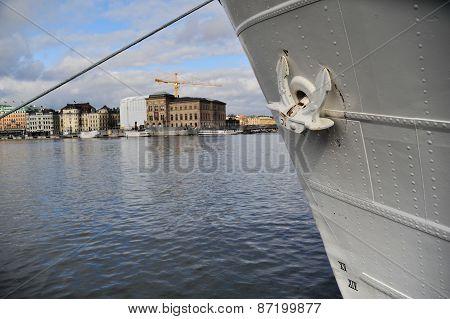 Close-up of a ship's anchor