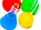 picture of reagent  - jar with colored reagents closeup on a white background - JPG