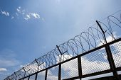 picture of razor  - barbed wire fence razor blue sky clouds - JPG